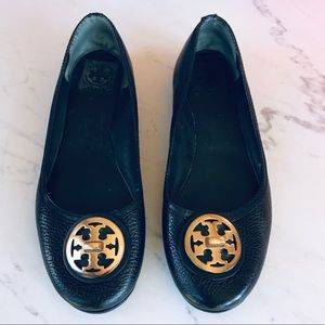 Tory Burch Black Pebble Leather Flats Size 8